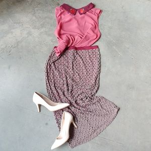 Bobeau Brown Burgundy Crochet Midi Skirt large